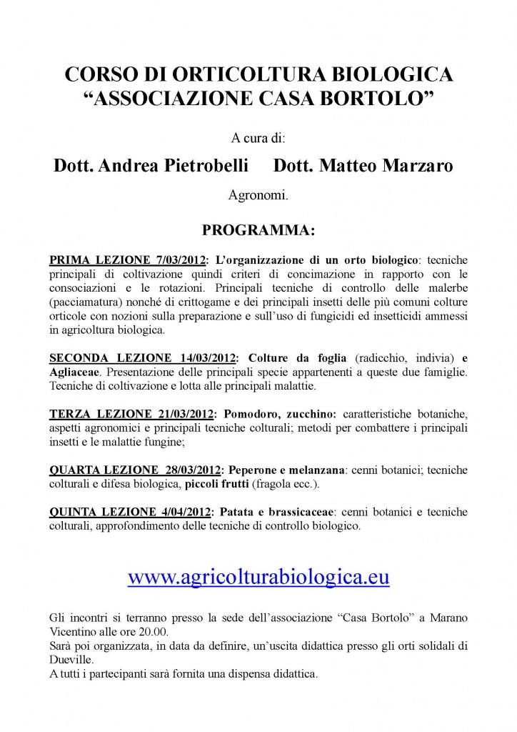 Agricoltura biologica a Marano Vicentino